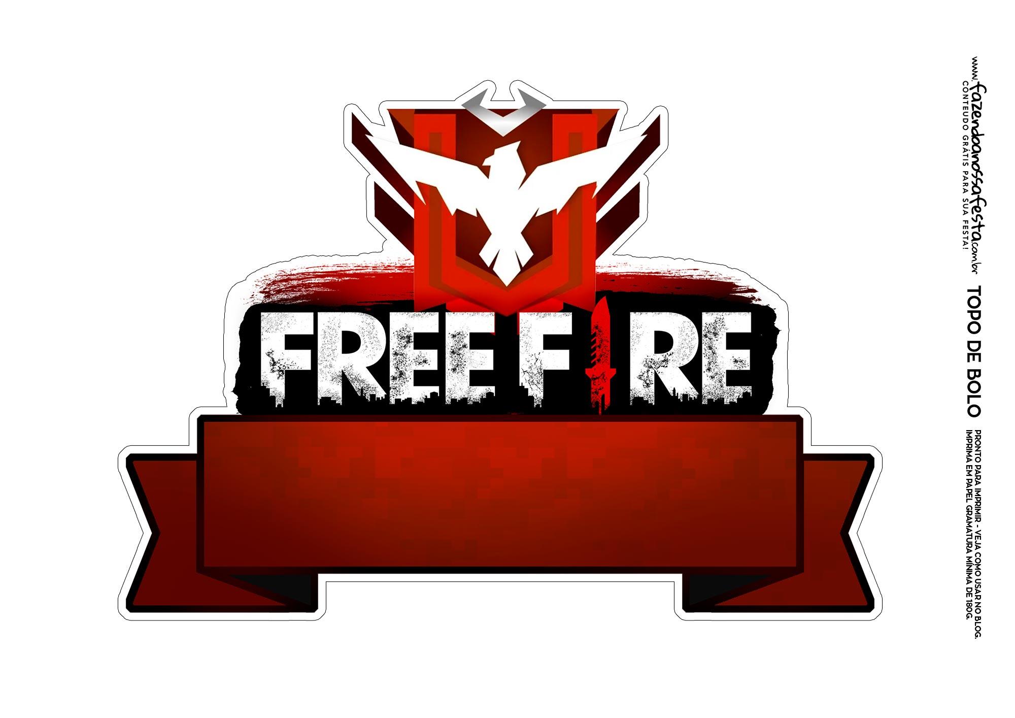 Topo de bolo Free Fire Mestre