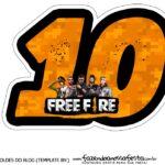 Topo de bolo Free Fire numero 10