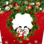 Adesivo Balde de Pipoca Natal Mickey e Minnie