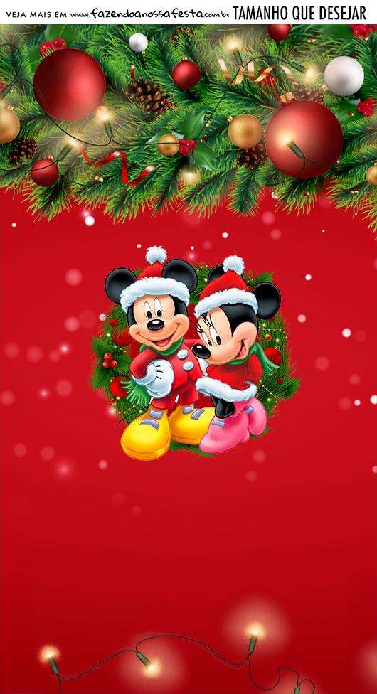 Adesivo Para Imprimir Natal Mickey e Minnie