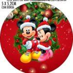 Adesivo redondo Natal Mickey e Minnie