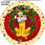 Adesivo redondo personalizado Natal Mickey e Minnie