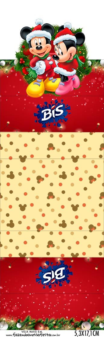 Bis duplo 3d Natal Mickey e Minnie