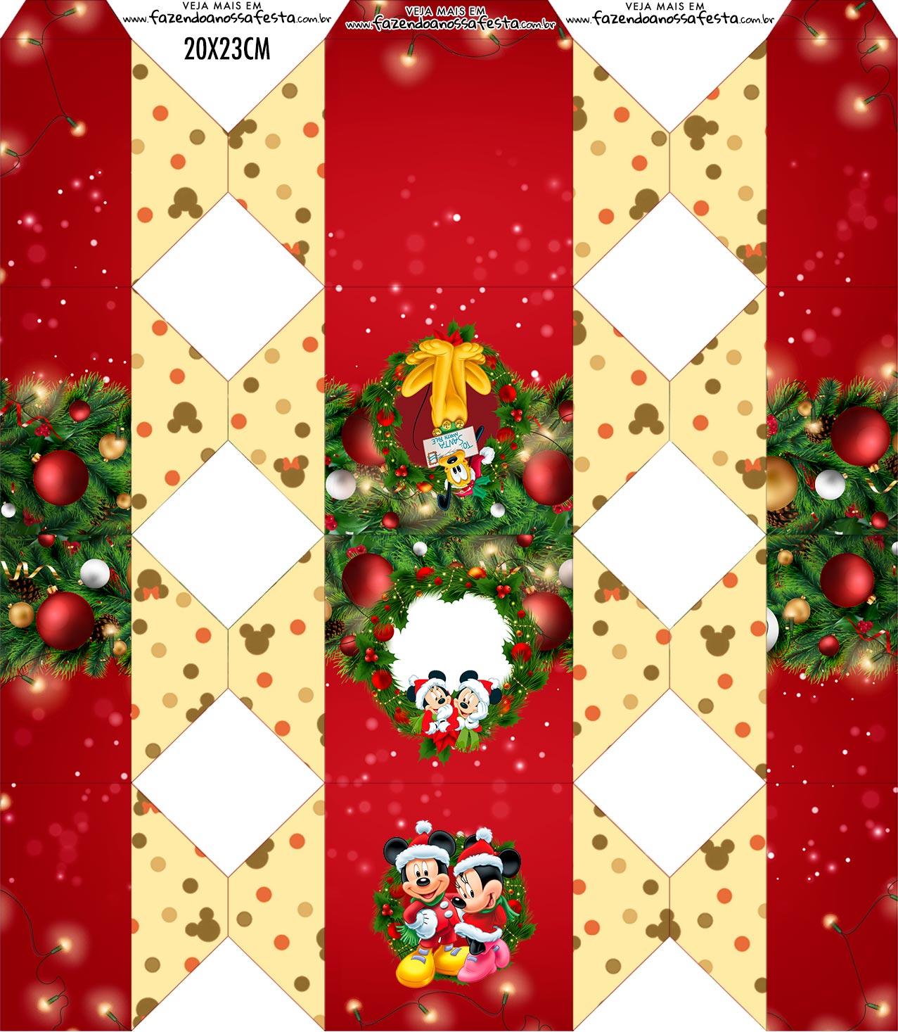 Caixa Bala Natal Mickey e Minnie