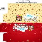 Caixa Baton Natal Mickey e Minnie