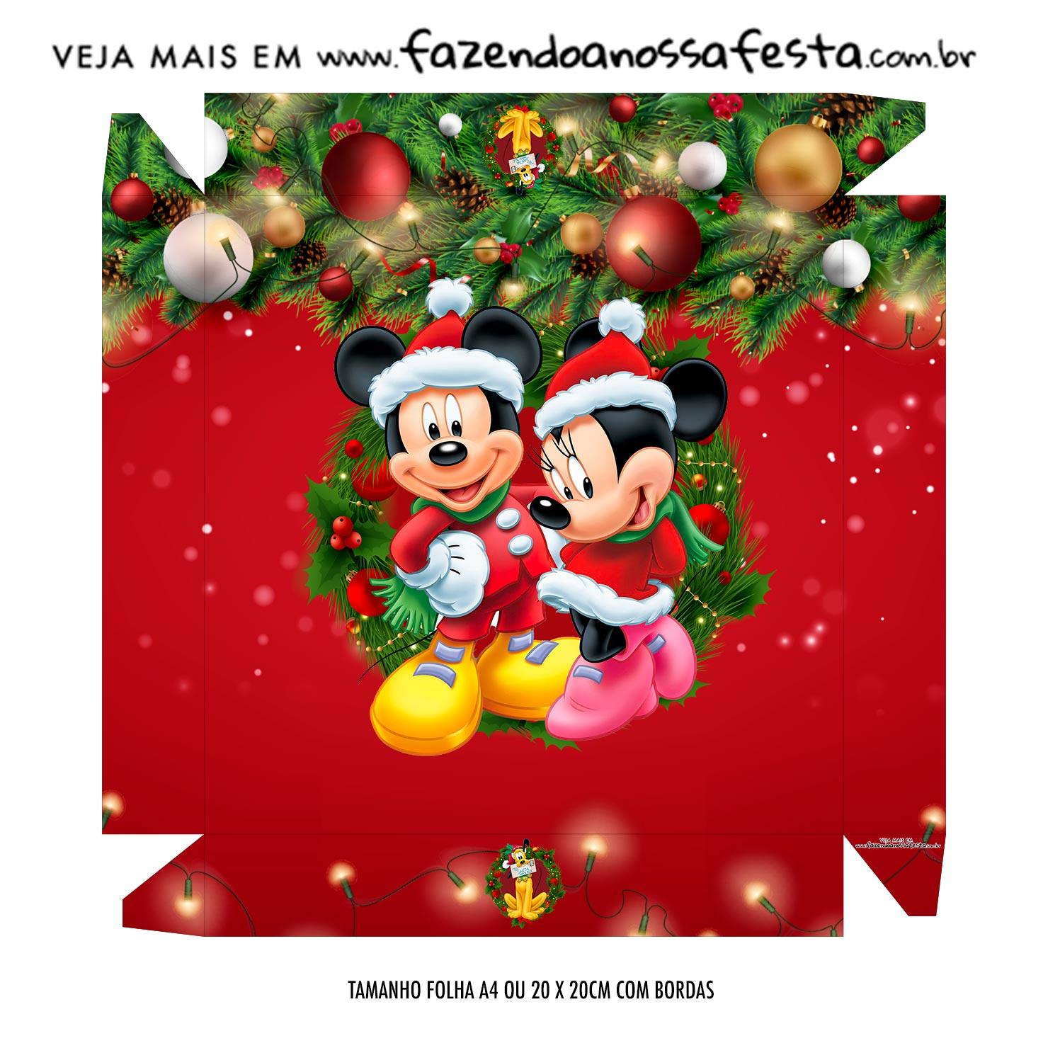 Caixa Bombom Tampa Natal Mickey e Minnie