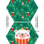 Caixa Explosao Panetone Natal Tampa e Base Urso Verde