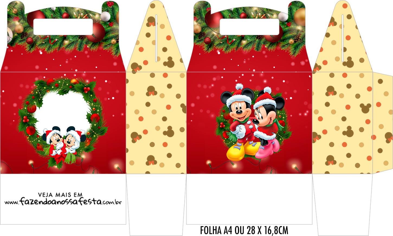 Caixa Maleta Surpresa Natal Mickey e Minnie