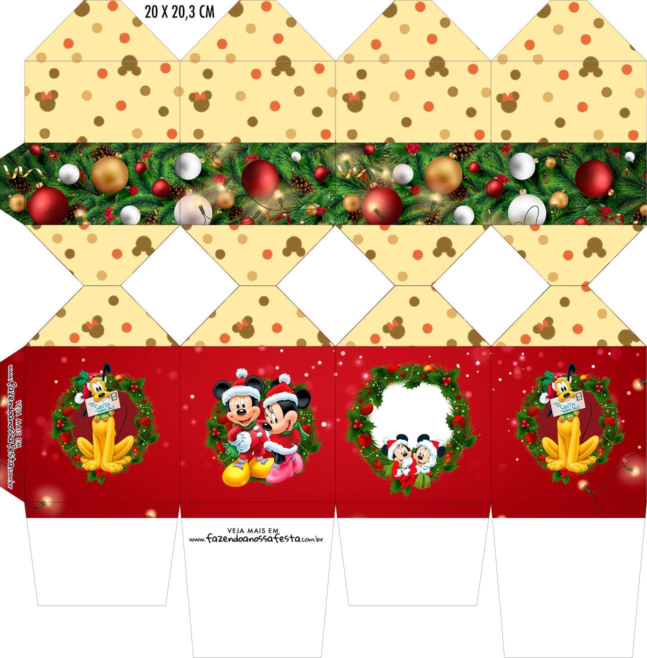 Caixa Meia Bala Natal Mickey e Minnie