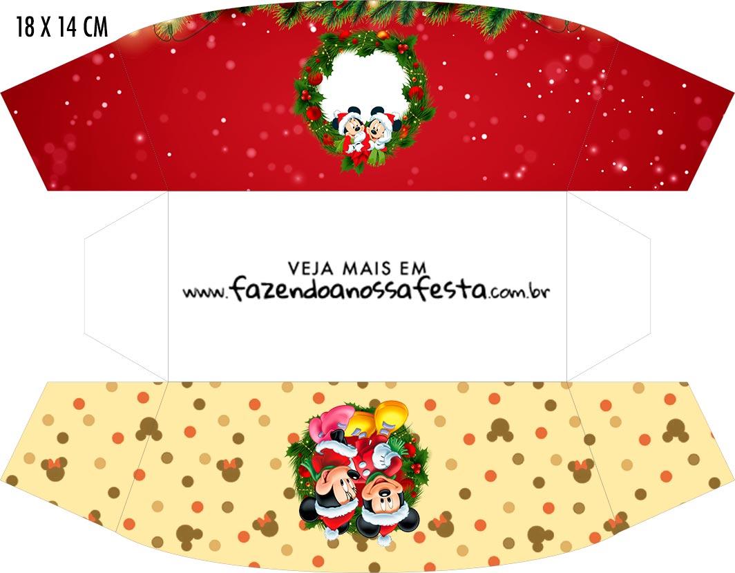 Caixa Mini Cachorro Quente Natal Mickey e Minnie