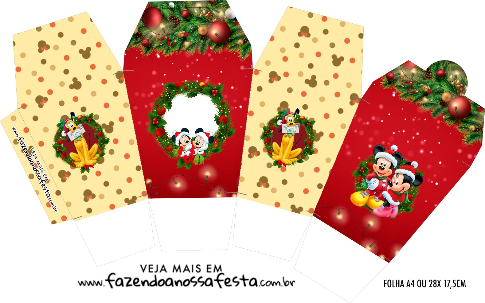 Caixinha China in Box Natal Mickey e Minnie