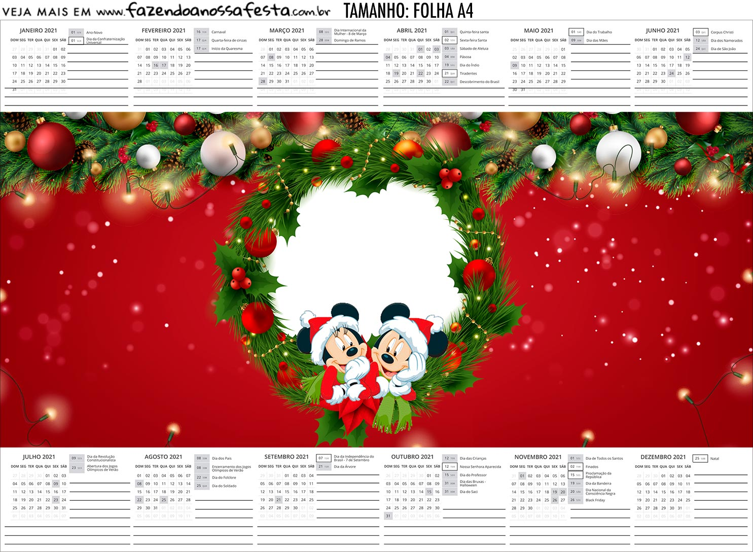 Calendario Personalizado 2020 Natal Mickey e Minnie