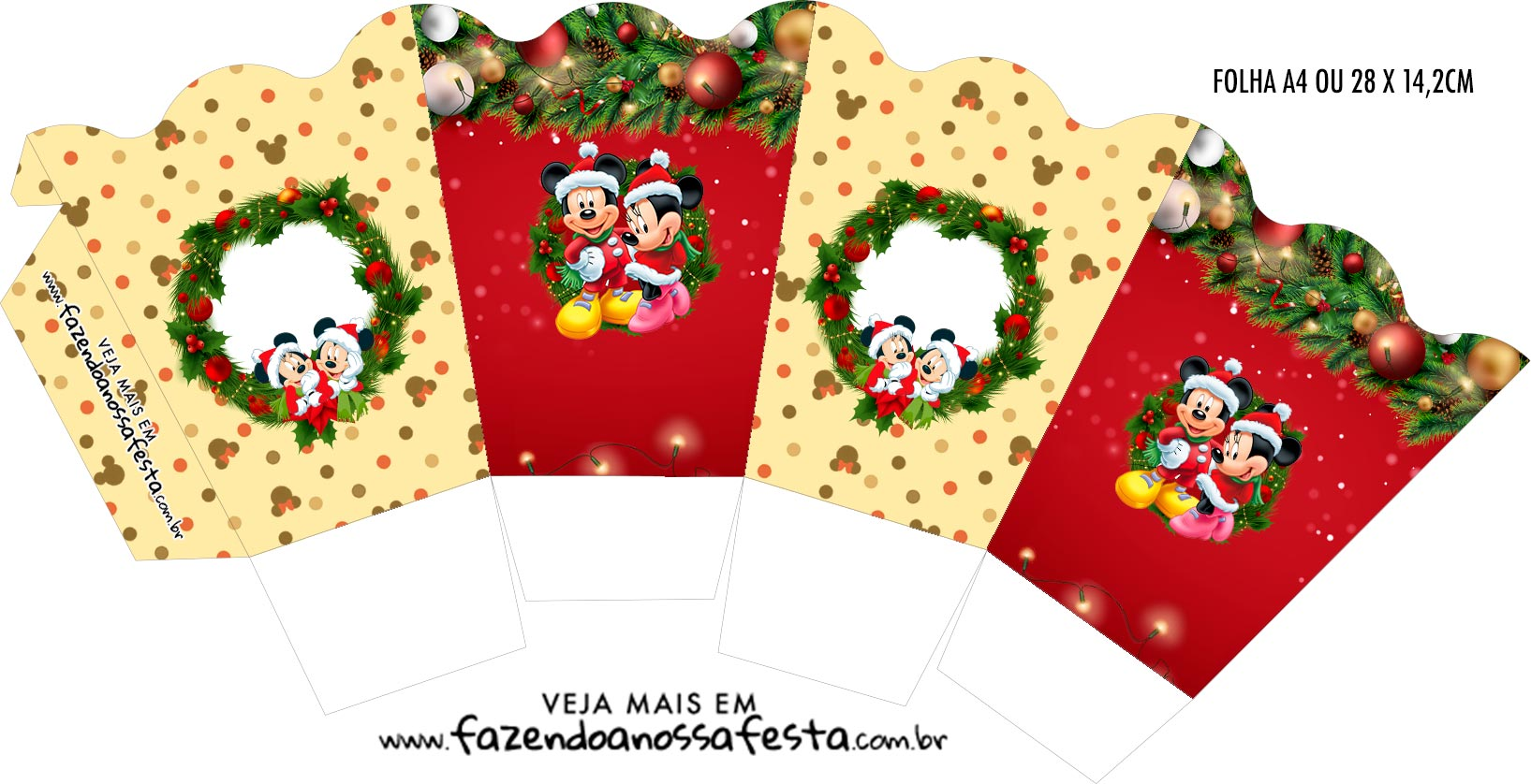 Chachepot centro de mesa Natal Mickey e Minnie