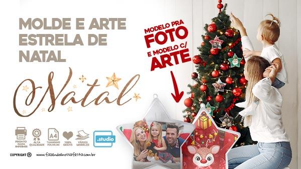 Estrela de Natal com Foto Molde