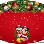 Placa Elipse Natal Mickey e Minnie