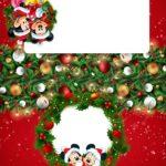 Plaquina de Mesa Triangular Natal Mickey e Minnie
