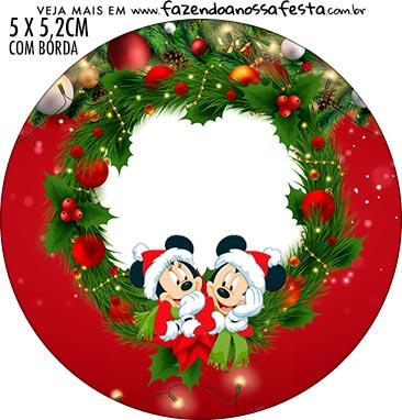 Rotulo Redondo Natal Mickey e Minnie