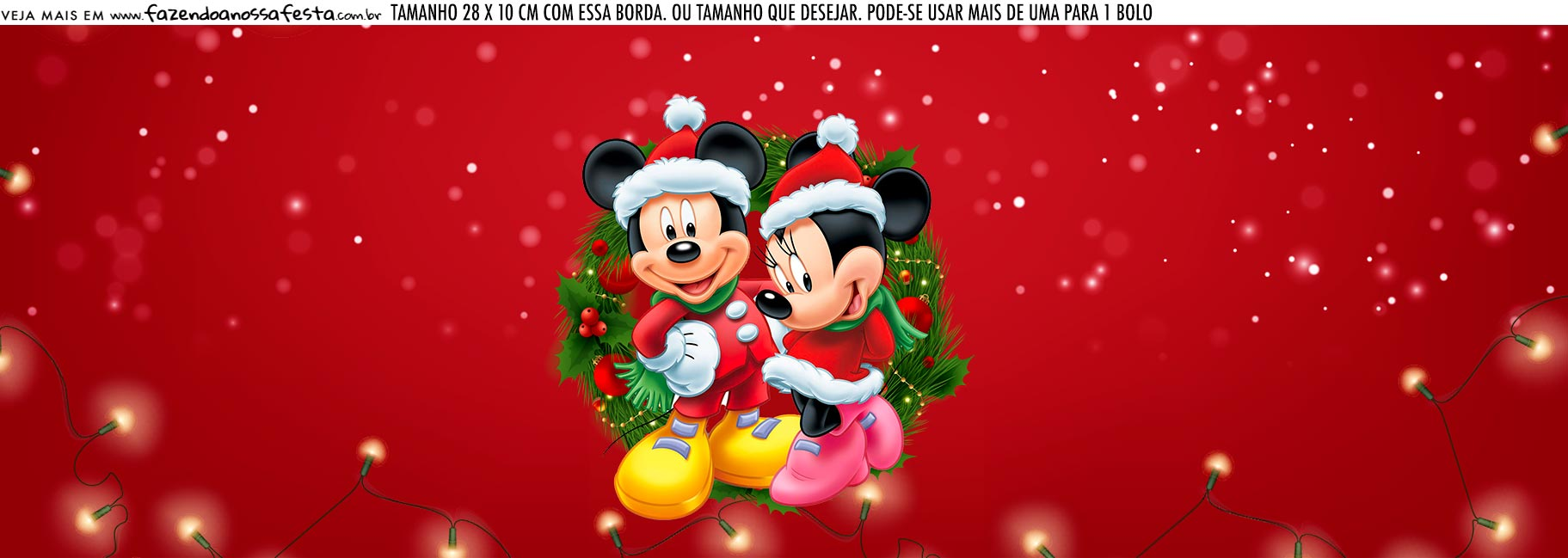 Saia Lateral de Bolo Kit Festa Natal Mickey e Minnie