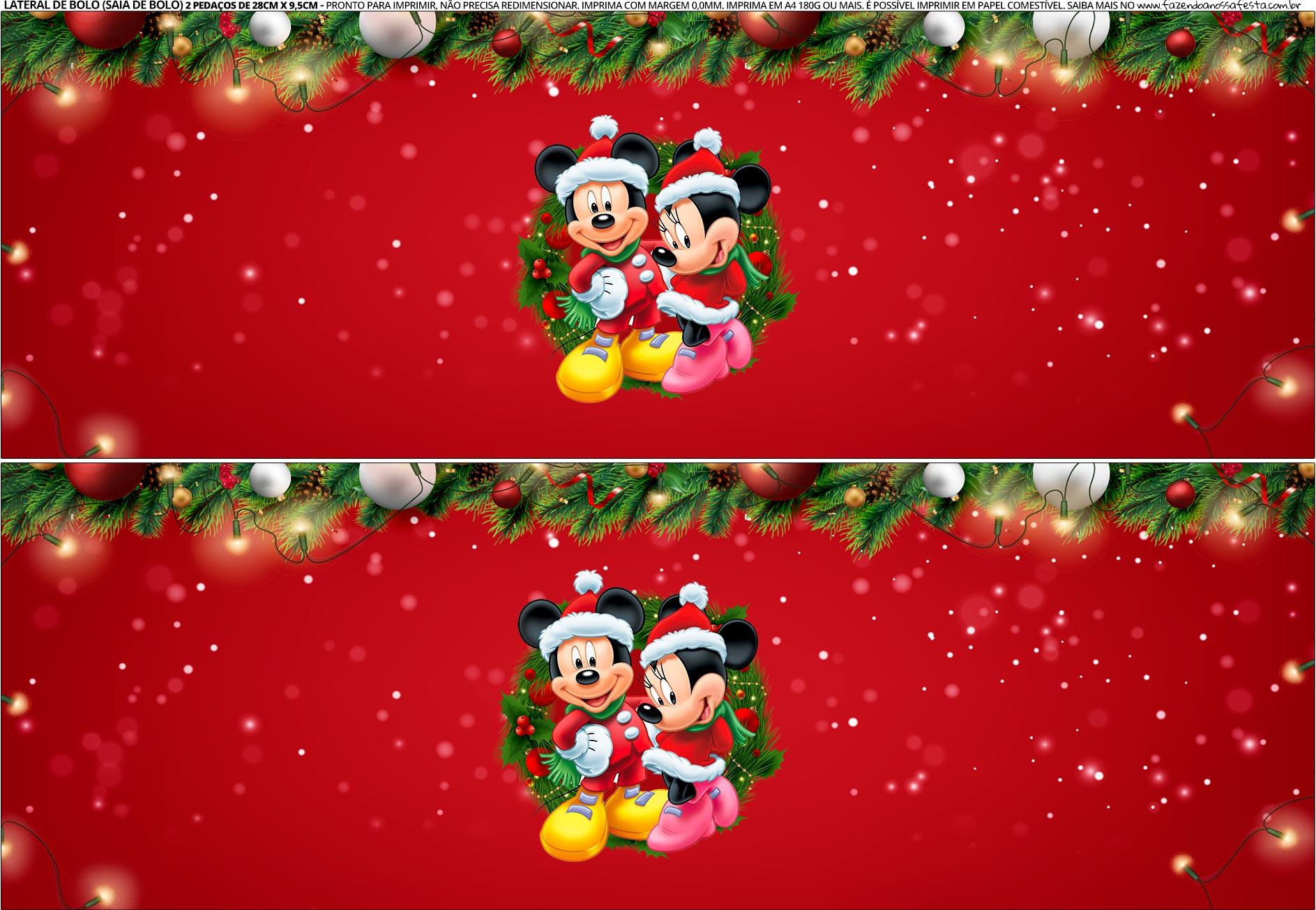 Saia de Bolo Natal Mickey e Minnie