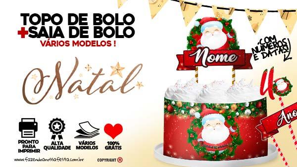 Topo de bolo Natal Papai Noel Gratis para Imprimir