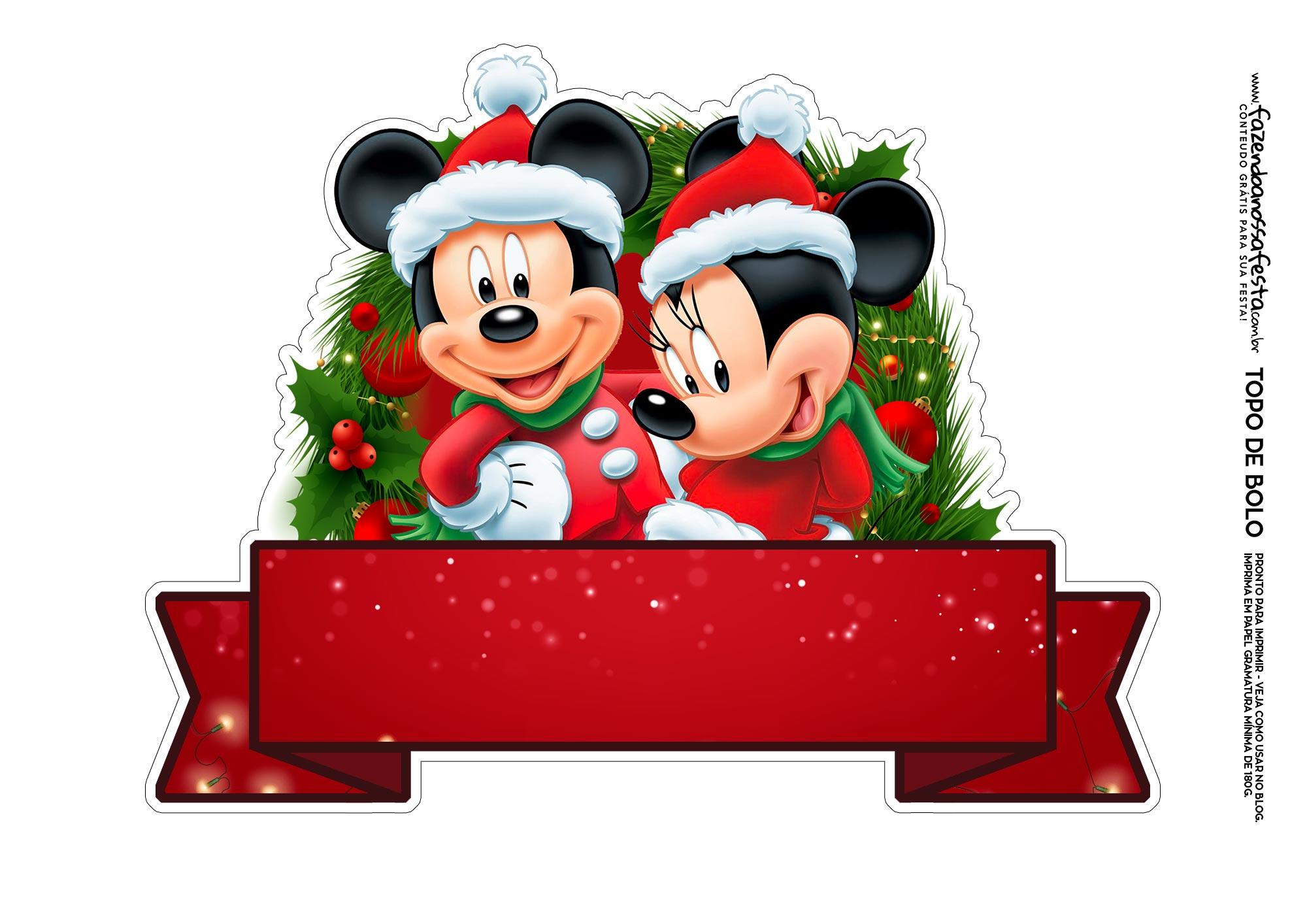 Topo de bolo Natal Mickey e Minnie