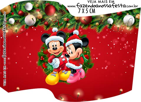 Topper Bandeirinha Kit Festa Natal Mickey e Minnie