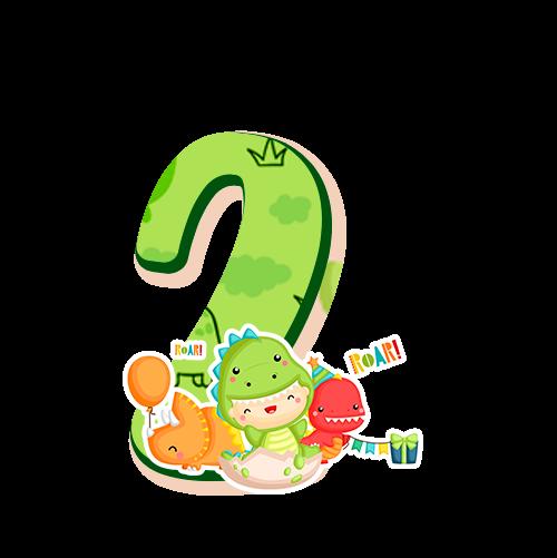 2 numeros Dinossauro Baby especial