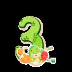 3 numeros Dinossauro Baby especial