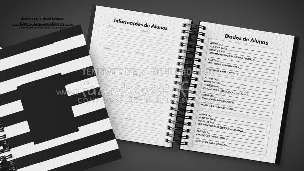 Caderno de Planejamento Preto e Branco