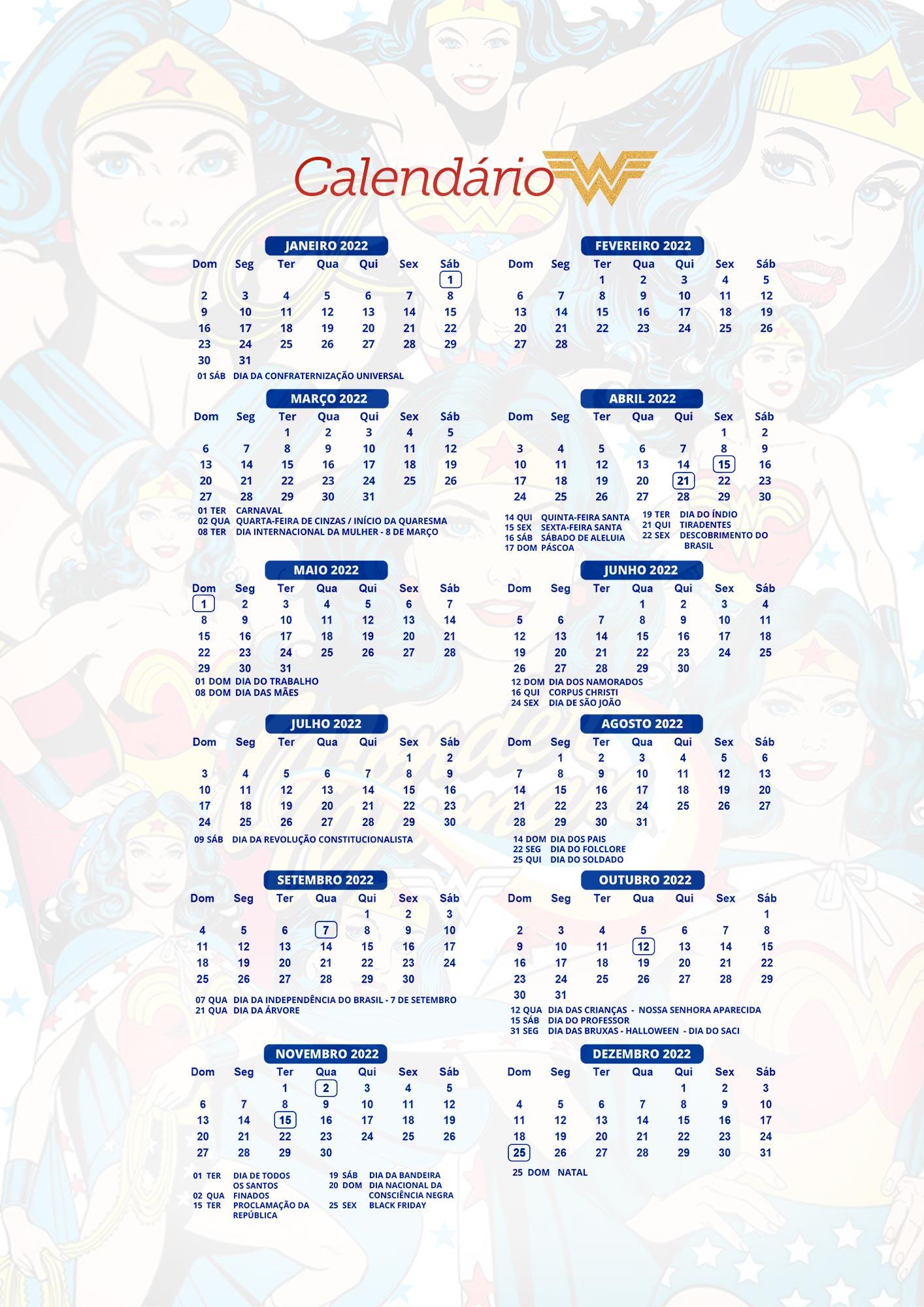 Calendario 2022 Mulher Maravilha