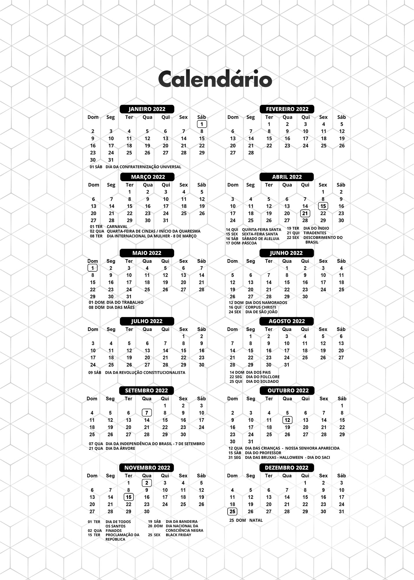 Calendario 2022 Preto e Branco