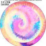Adesivo redondo personalizado Kit Festa Tie Dye