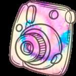 Topo de bolo Tie Dye png Camera