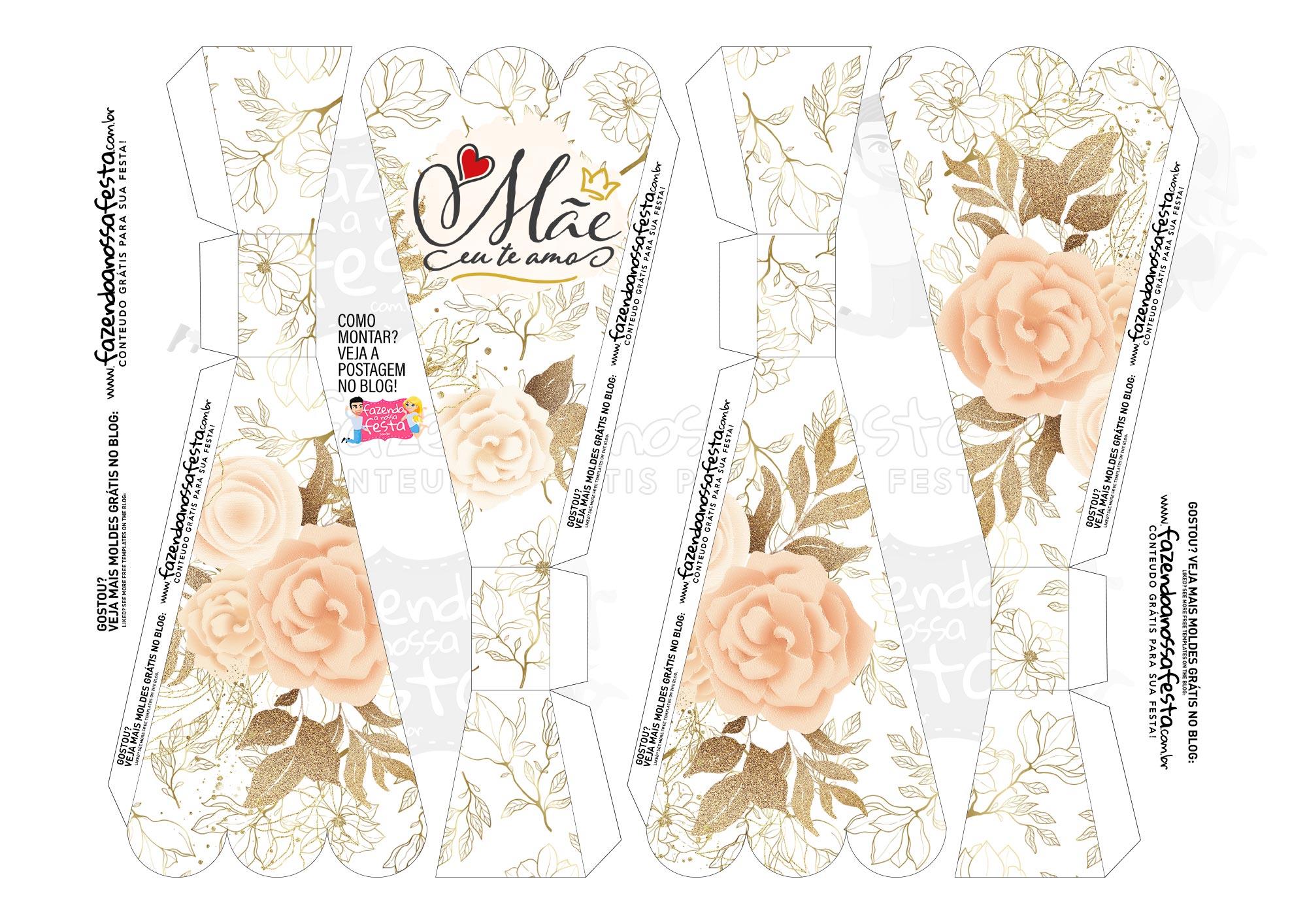 Caixa Buque Floral Bege parte 1