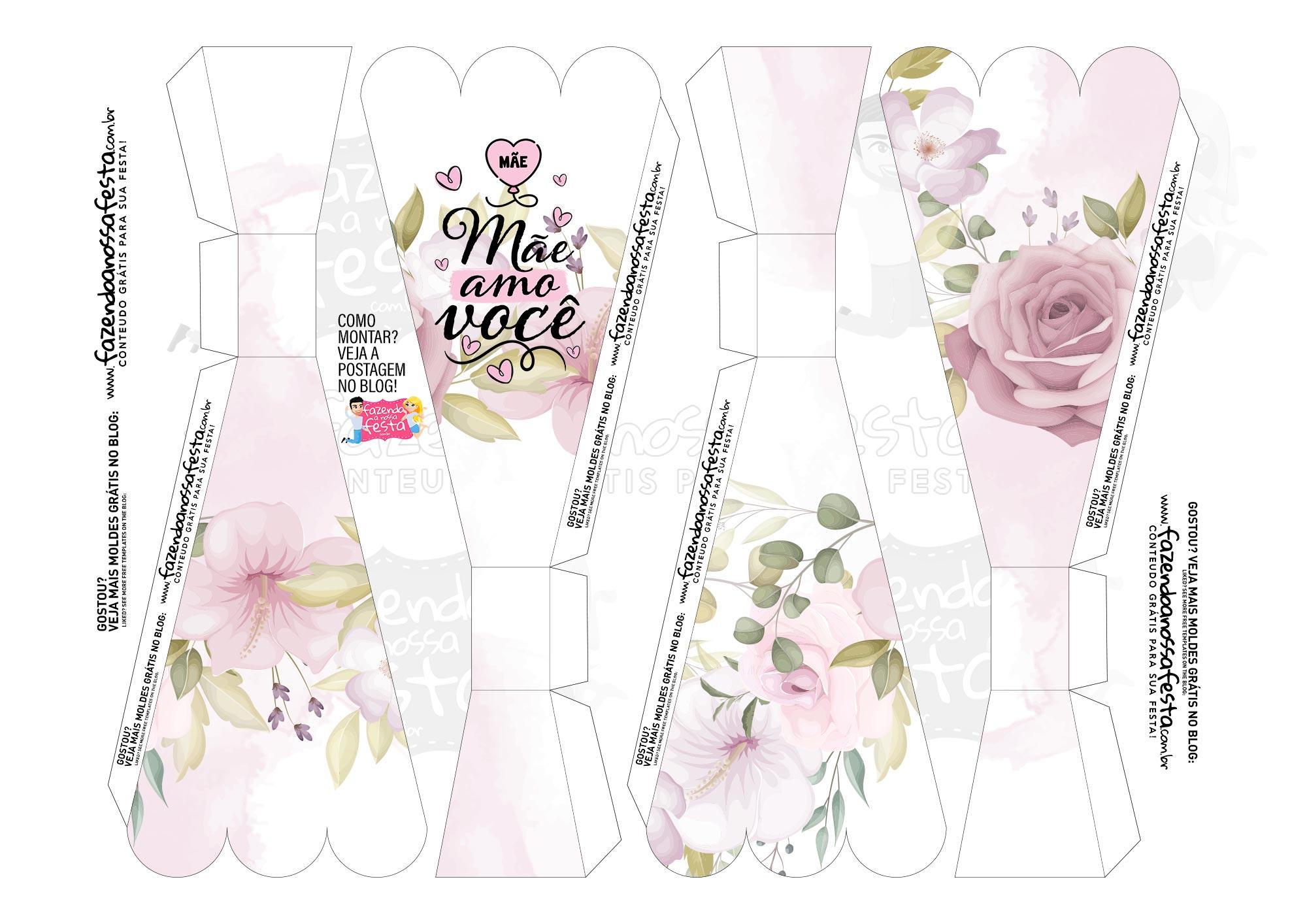 Caixa Buque Floral Rosa Claro parte 1
