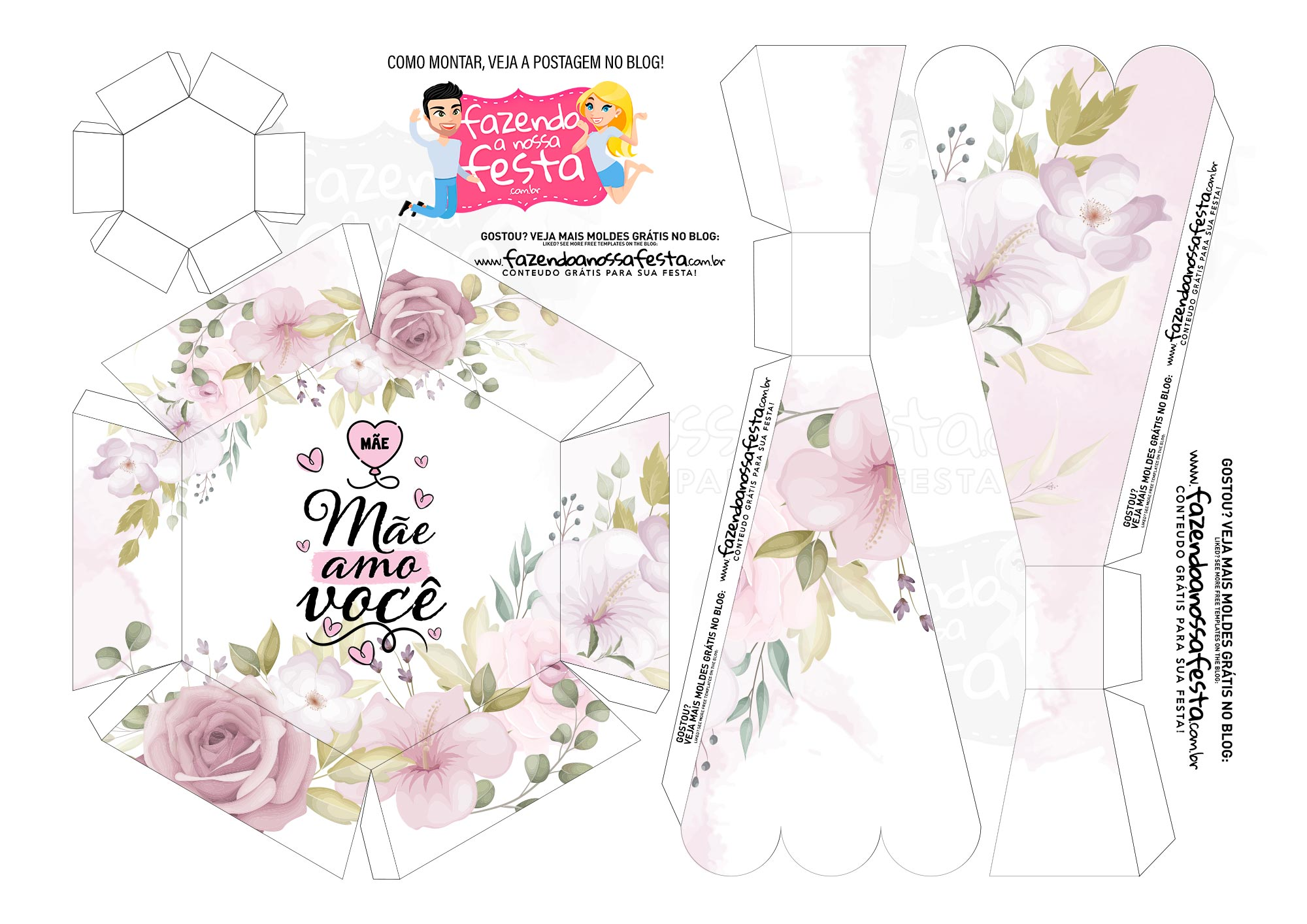 Caixa Buque Floral Rosa Claro parte 2
