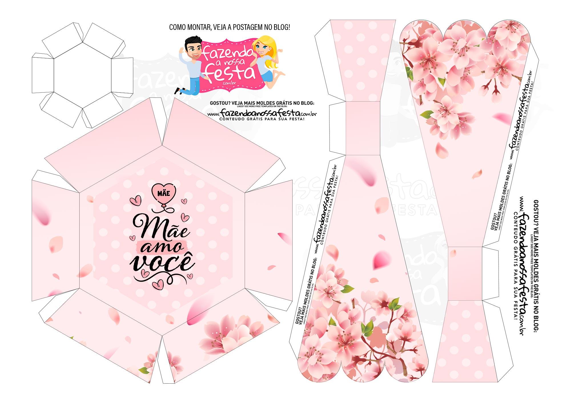 Caixa Buque Floral Rosa parte 2