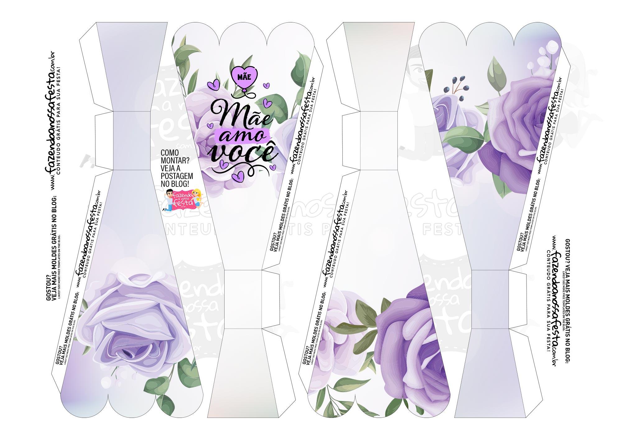Caixa Buque Floral Roxo parte 1
