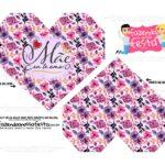 Caixa Coracao Dia das Maes Floral Violeta