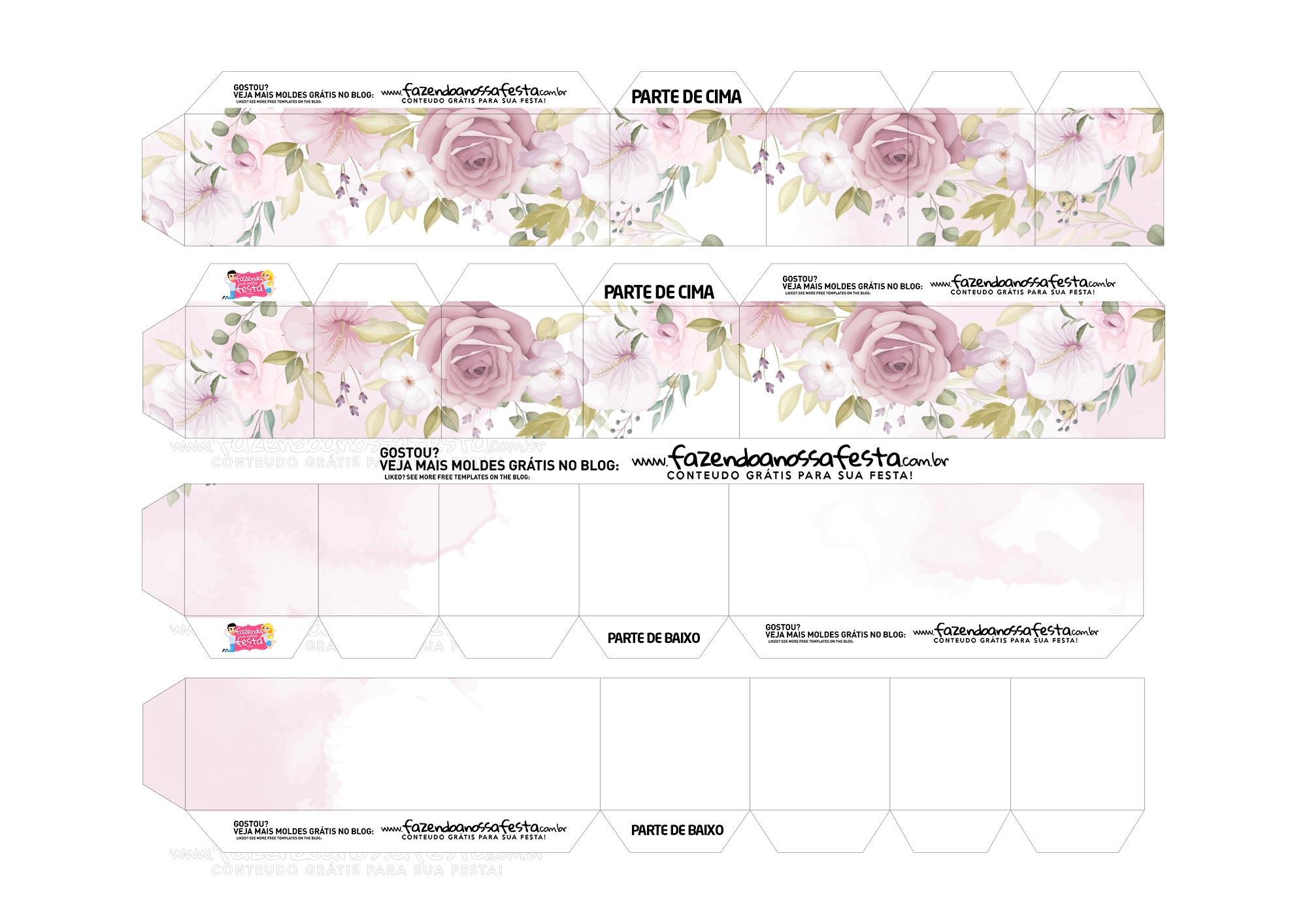 Caixa Coracao Floral Rosa 2