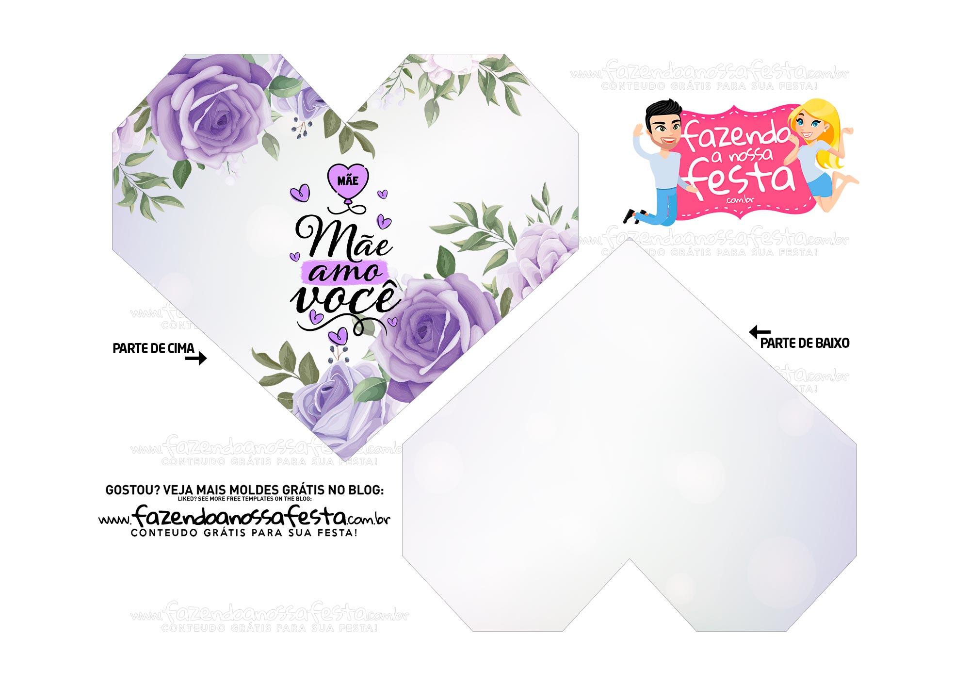 Caixa Coracao Floral Roxo