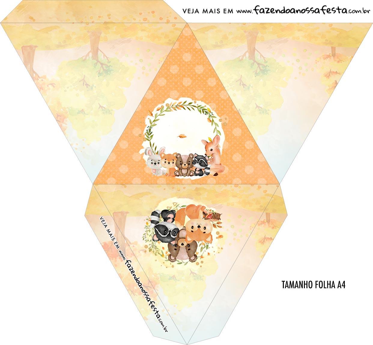Caixa Piramide Personalizada Bosque Encantado Laranja
