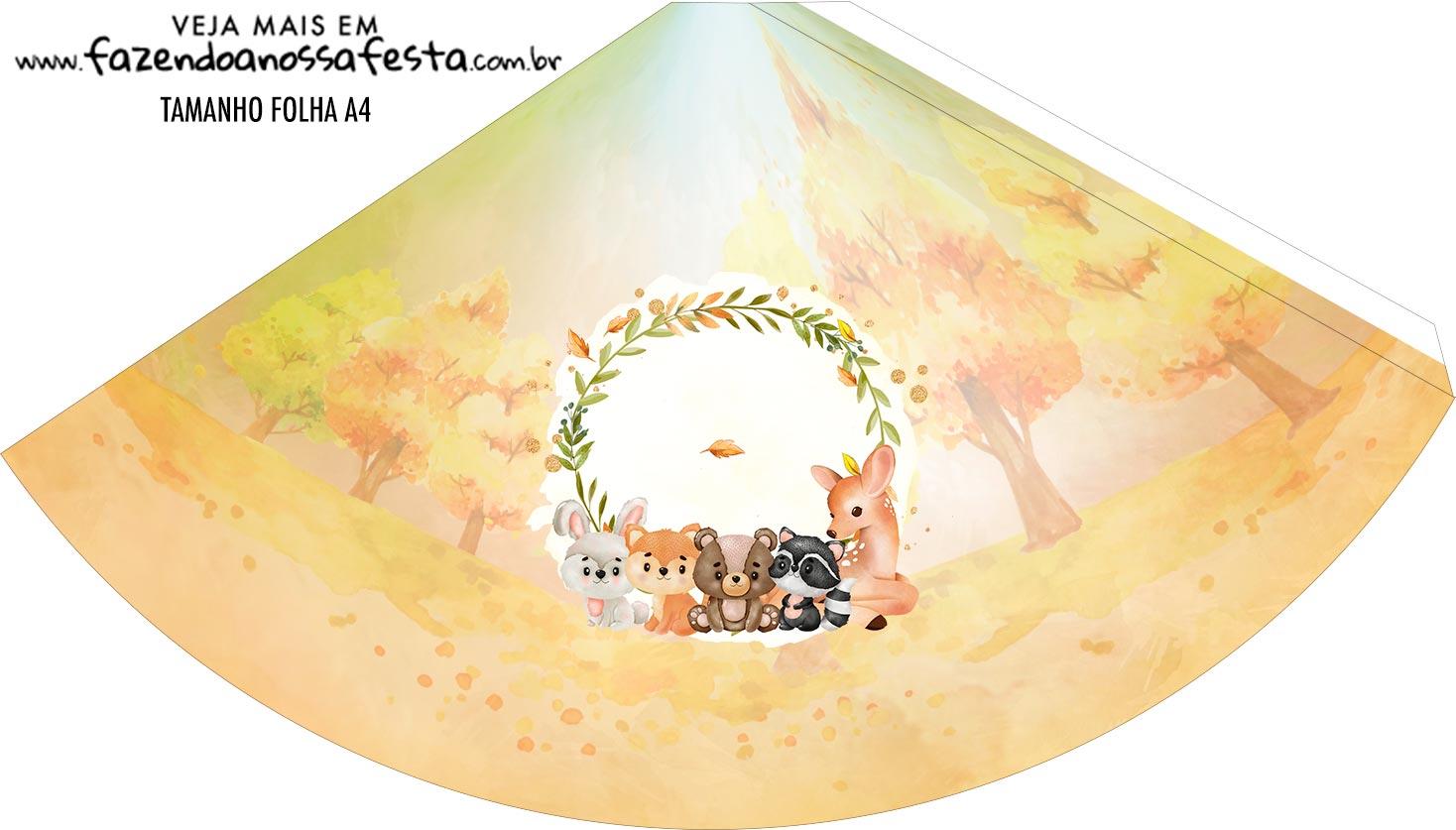 Chapeu de Festa Personalizado Bosque Encantado Laranja