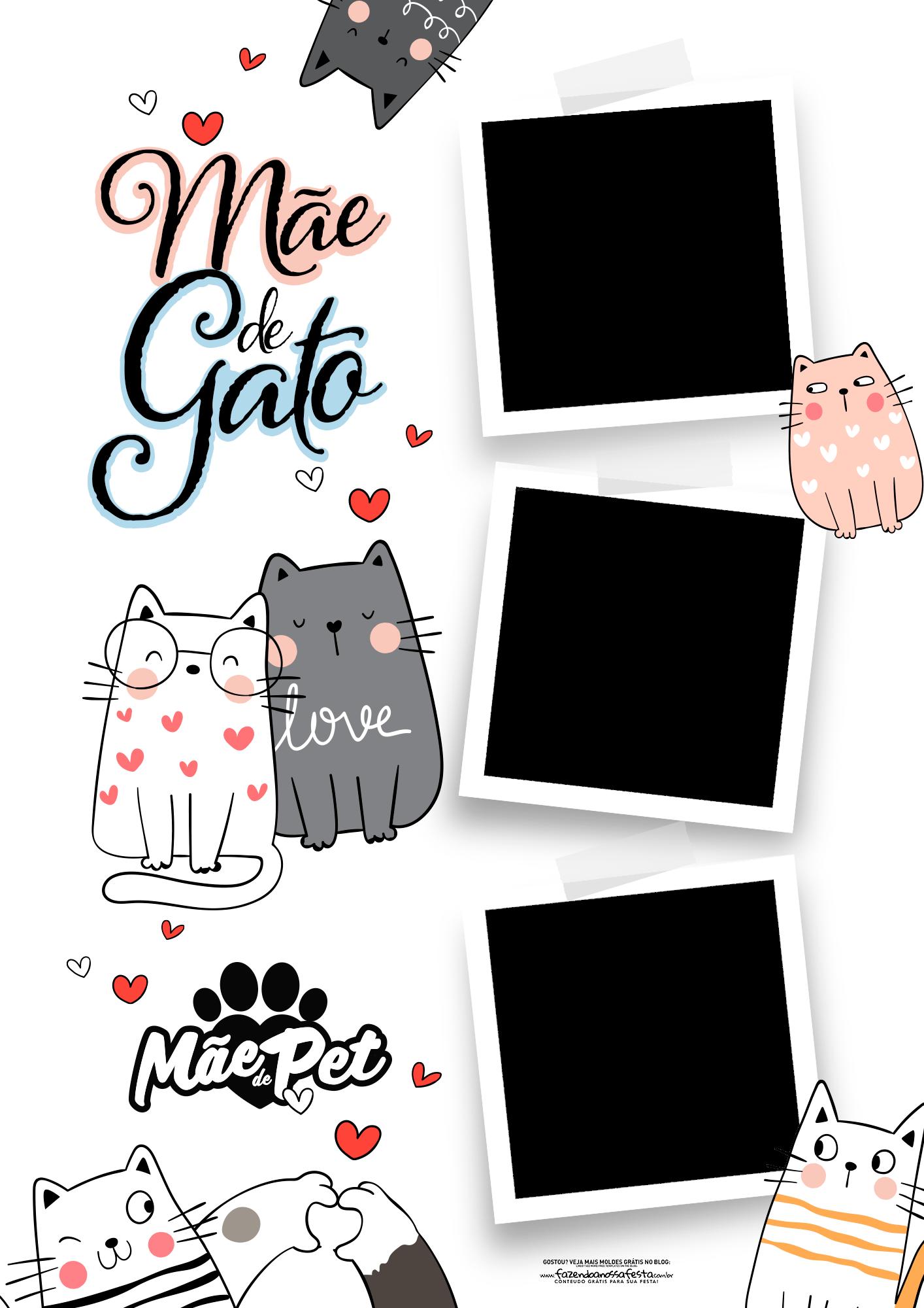 Quadro Dia das Maes Personalizado Mae de gato