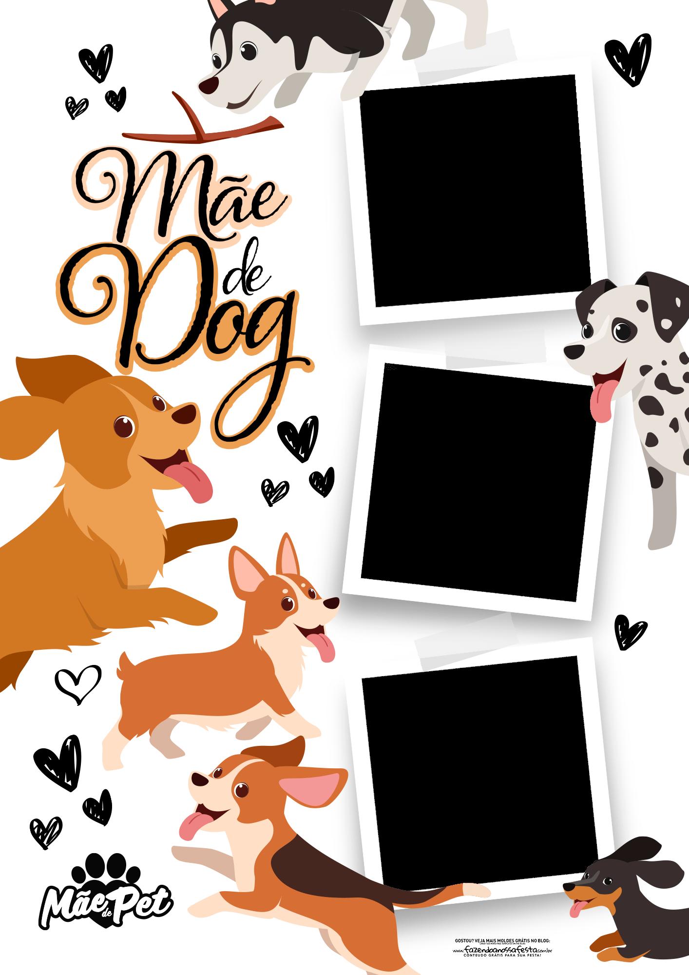 Quadro Dia das Maes Personalizado com fotos Mae de dog