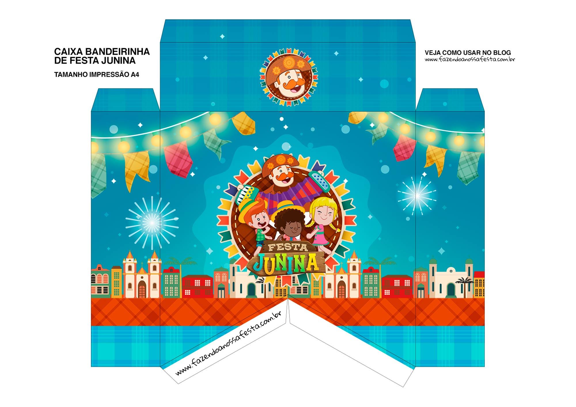 Caixa Bandeirinha Festa Junina Frente bandeirinha Kit Festa Sao Joao do Bita