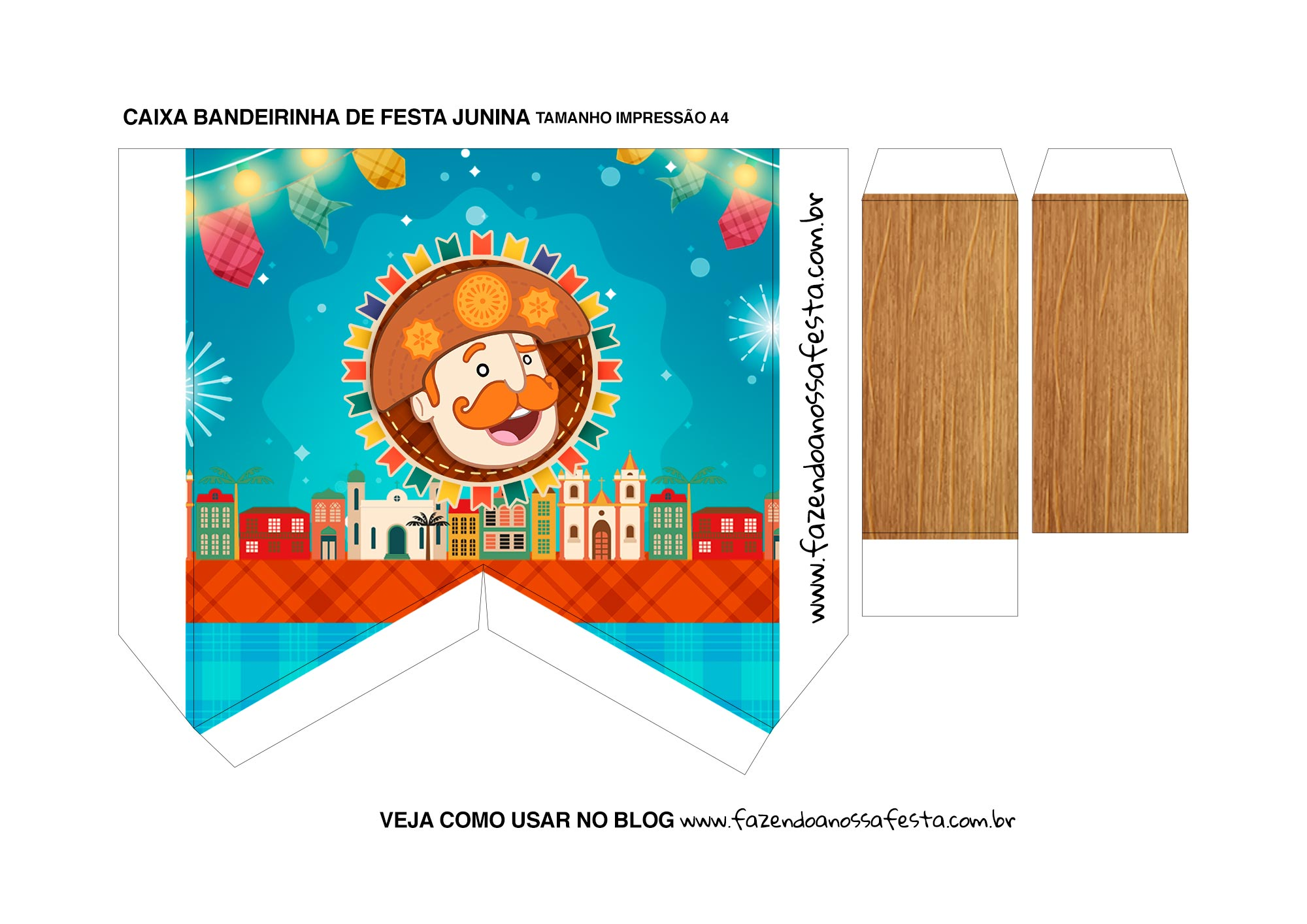 Caixa Bandeirinha Festa Junina Verso bandeirinha Kit Festa Junina do Bita