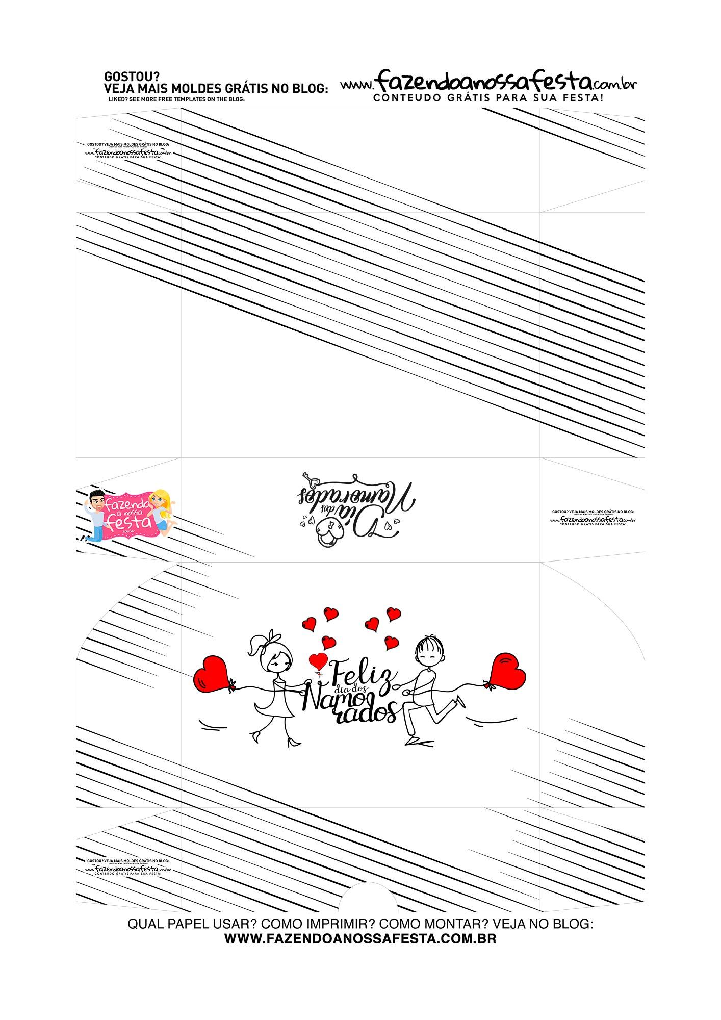 Caixa Brigadeiro Dia dos Namorados Casal preto e branco
