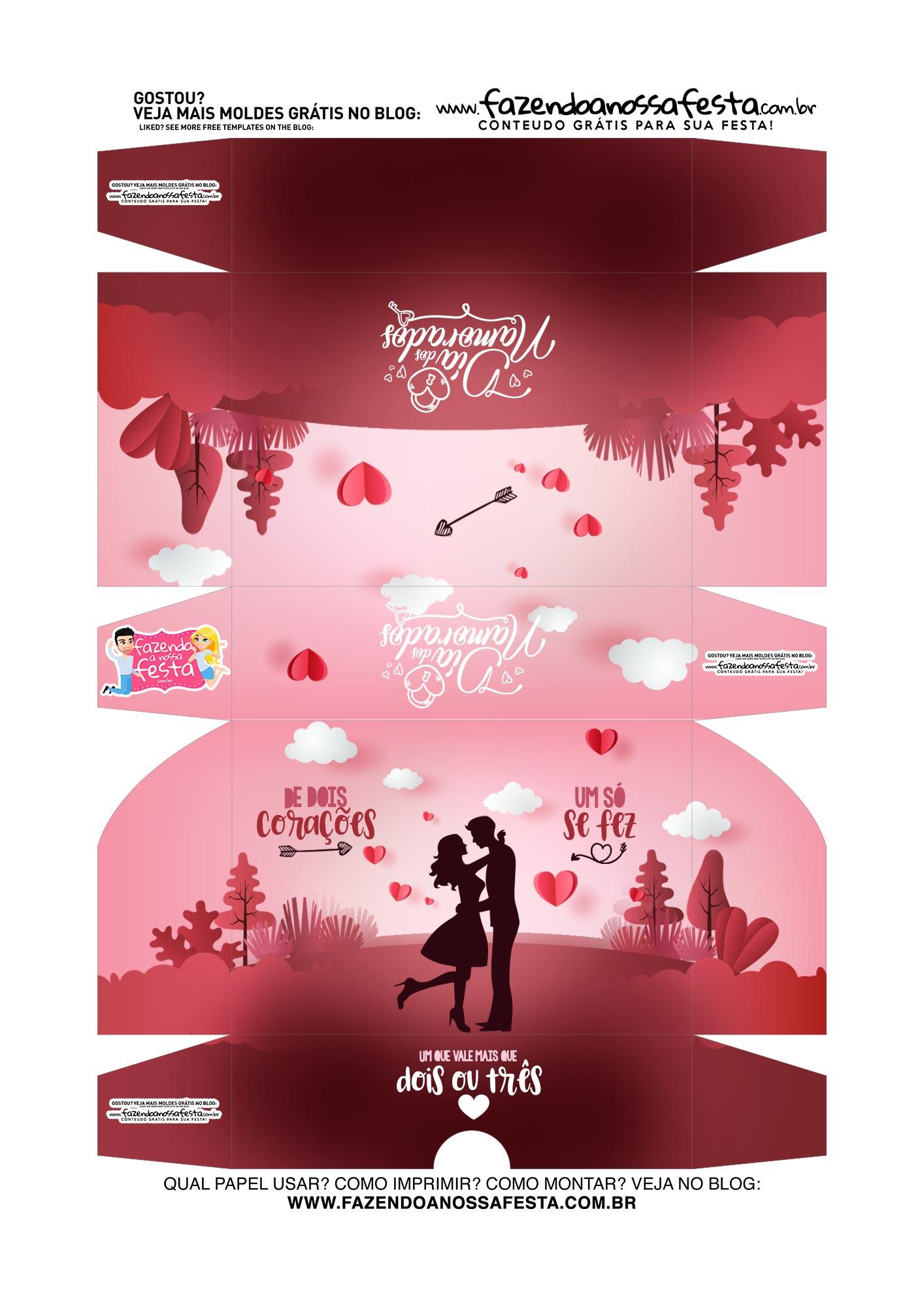 Caixa Brigadeiro Dia dos Namorados De dois coracoes
