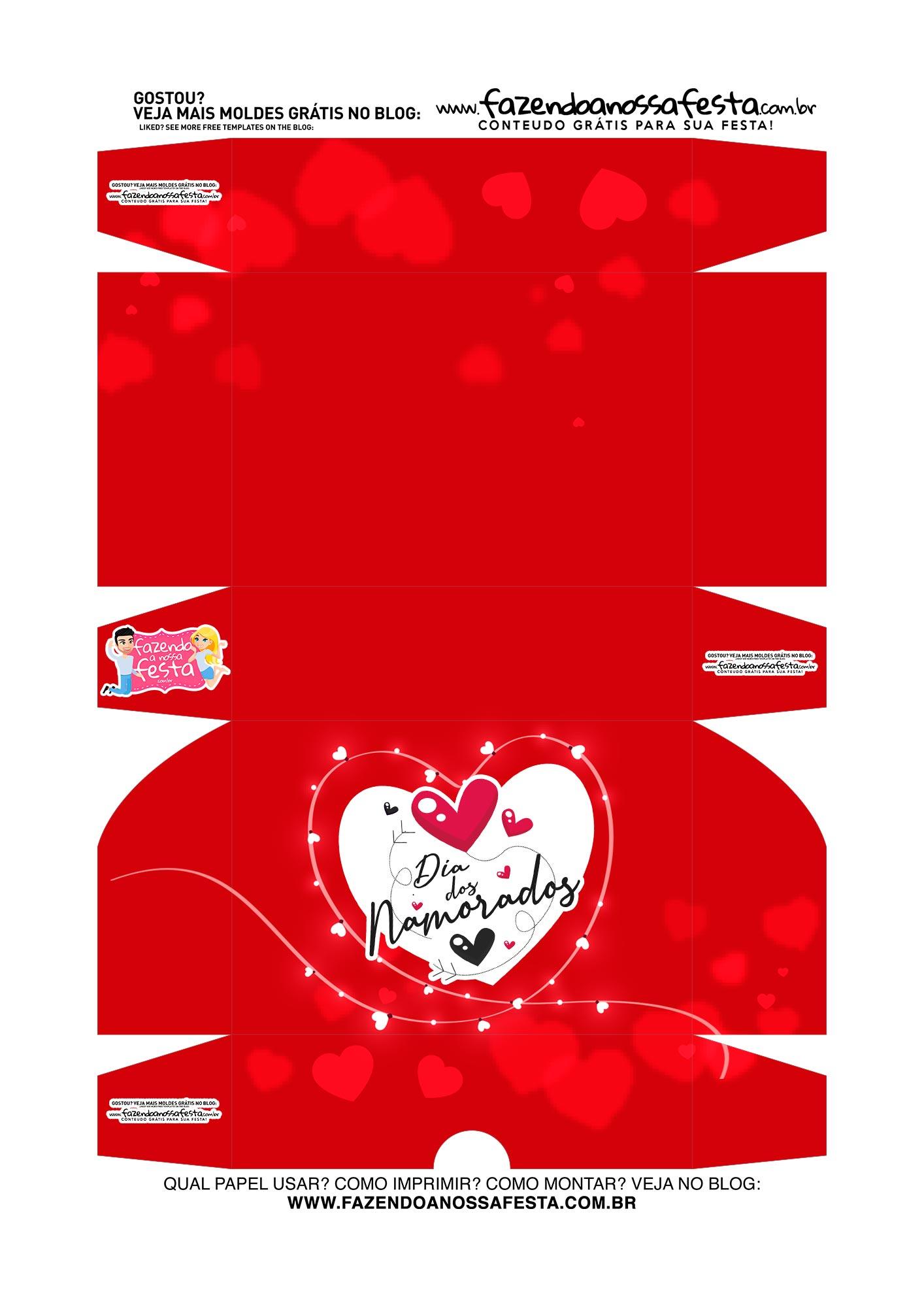 Caixa Brigadeiro Dia dos Namorados Vermelha